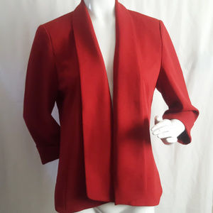 Anne Klein Red Cuff Sleeve Drapey Blazer Jacket M